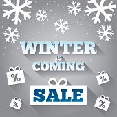 Winter is coming sale background. Merry Christmas.