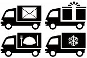 truck with snowflake, envelope, food dish, gift box
