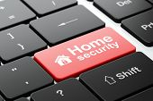 Security concept: Home and Home Security on computer keyboard background