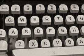 picture of qwerty  - An Antique Typewriter Showing Traditional QWERTY Keys VI - JPG