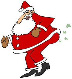 image of fart  - This illustration depicts Santa Claus straining to let a fart - JPG