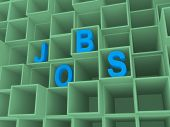 Job Text In 3D In Square Boxes, Career Concept