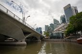 SINGAPORE - NOVEMBER 05, 2012: Famous Esplanade Bridge is a vehicular bridge that spans across the S