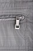 Close up shot of clothes zipper pocket