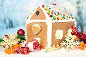 Beautiful gingerbread house with Christmas decor