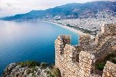 The View Over Alanya Under The Sunset Rays From The Top Of The Fortress