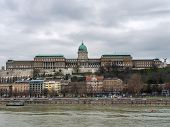 The Buda Castle In Budapest On A Cloudy Day