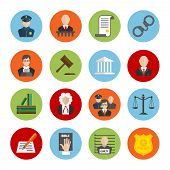 stock photo of justice law  - Law legal justice judge and legislation flat icons set isolated vector illustration - JPG