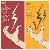 Electric Bolt In Man Hand