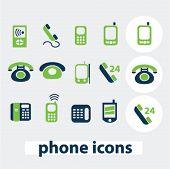 phone, smartphone icons, signs set, vector