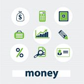 money, finance, bank icons, signs set, vector