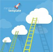 image of step-ladder  - Ladder to clouds - JPG