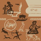 stock photo of mesopotamia  - Elements of ancient fine arts of peoples of the world vector background - JPG