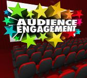 Audience Engagement Words Movie Theater Screen Viewers Visitors