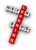 stock photo of box-end  - learning never ends crossword puzzle - JPG