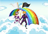 Illustration of the superheroes in the sky near the rainbow