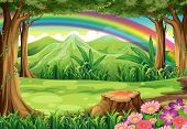 pic of landforms  - Illustration of a rainbow and a forest - JPG