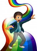 Illustration of a boy dancing above the rainbow on a white background