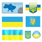 illustration Map Emblem and Flag of Ukraine
