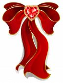 Red Bow With Ruby Heart
