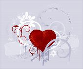 Red Heart On A Grey Background