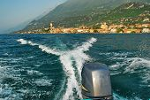 stock photo of lagos  - Rear view from a speedboat on Lake Garda  - JPG