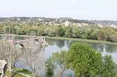 stock photo of avignon  - Banks of Rhone river and Avignon bridge  - JPG