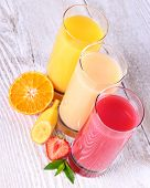 Fruity Drinks Juice From Banana, Tangerine, Strawberry