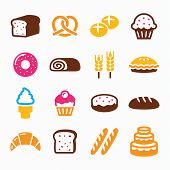 Bakery, pastry icon set - bread, donut, cake, cupcake
