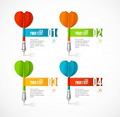 Vector colorful dart arrow like options banner