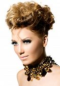 Beauty Hairstyle. Glamour lady portrait. Beautiful model girl with perfect fashion makeup and hair s