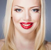 Beautiful red lips, portrait of sexy blonde woman