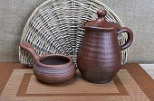 Pottery Clay Jug And Ladle