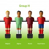 Table football / foosball players. Group H - Belgium, Algeria, Russia, South Korea. Vector.