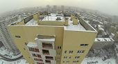 Roof apartment house and horizon, view from unmanned quadrocopter.