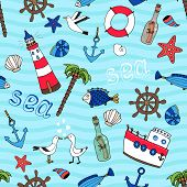 Nautical seamless pattern in retro style
