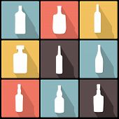 Bottle Icons In Flat Design For Web And Mobile