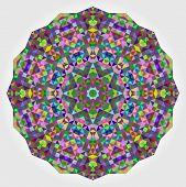 Abstract Colorful Circle Backdrop. Geometric Vector Mandala. Mosaic Banner Of Geometric Shapes. Gree