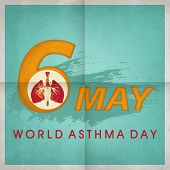World Asthma Day concept with stylish text 6 May and illustration of lungs on green background.