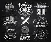 stock photo of croissant  - Bakery characters in retro style lettering donuts - JPG
