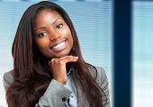 Smiling young african business woman