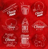 picture of rice noodles  - Set of symbols icons chinese food in retro style lettering chinese noodles - JPG