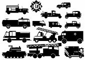 stock photo of ladder truck  - Silhouettes of several fire trucks - JPG