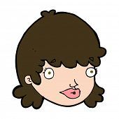 cartoon female face with surprised expression