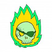 cartoon burning skull