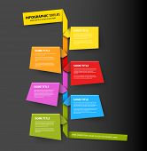 Dark Vector Infographic timeline report template made from colorful papers