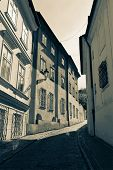 Prague street. Black and white split tone image