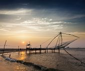 image of fishnet  - Kochi chinese fishnets on sunset - JPG