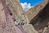Road construction in Himalayas. Ladakh, Jammu and Kashmir, India