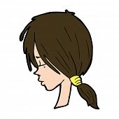 cartoon girl looking thoughtful